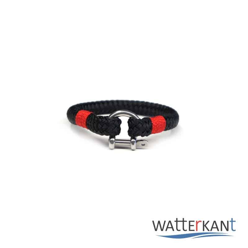 Armband aus Segeltau sheet schwarz rot